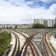 View of the railway tracks before the upgrade cloud, fixed link, horizon, line, metropolitan area, rail transport, residential area, road, sky, suburb, track, transport, urban area, white