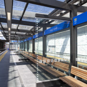 View of glass systems included in the New metropolitan area, public transport, structure, train station, transport, black