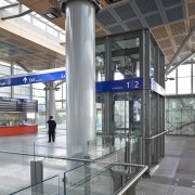 View of the renovated New Lynn Railway Station airport terminal, architecture, building, glass, metropolitan area, structure, gray
