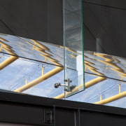 View of the renovated New Lynn Railway Station architecture, daylighting, glass, line, black
