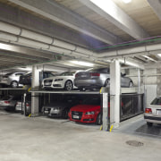 View of the underground car parking at the automobile repair shop, automotive exterior, car, motor vehicle, parking, parking lot, vehicle, gray