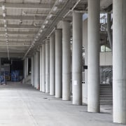 View of concrete pedestrian bridge at Eden Park architecture, column, daylighting, structure, gray