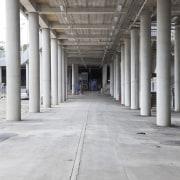 View of concrete pedestrian bridge at Eden Park architecture, building, column, daylighting, floor, line, structure, gray