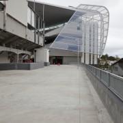 View of concrete pedestrian bridge at Eden Park architecture, building, sky, structure, gray