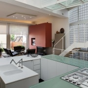 View of contemporary home within a 3-storey atrium architecture, interior design, office, real estate, gray