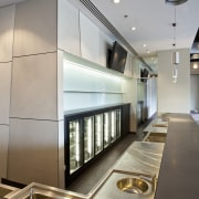View of the front-of-house of a kitchen at architecture, ceiling, interior design, lobby, product design, gray