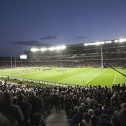 View of the new South Stand at the arena, atmosphere, atmosphere of earth, baseball park, crowd, grass, sky, soccer specific stadium, sport venue, stadium, structure, black, blue