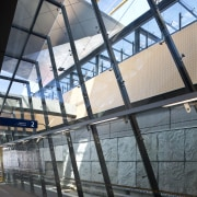 View of the renovated New Lynn Railway Station architecture, building, daylighting, daytime, facade, glass, metropolitan area, roof, structure, window, black, gray