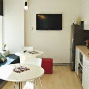 View of a kitchen which features the Sanispeed furniture, interior design, real estate, room, table, white