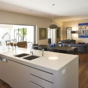 View of large, open renovated kitchen featuring timber countertop, interior design, kitchen, property, real estate, room, white