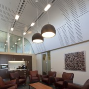 Interior view of the Poshe Centre which features architecture, ceiling, daylighting, interior design, lobby, gray