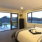 View of master bedroom of this David Reid estate, home, house, interior design, property, real estate, room, window, orange