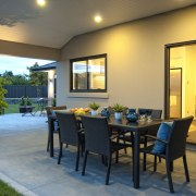 Exterior view of paved patio of this David dining room, estate, home, house, interior design, patio, property, real estate, window
