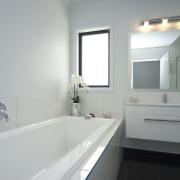View of the bathroom of this David Reid bathroom, bathroom accessory, bathroom cabinet, countertop, home, interior design, property, room, sink, window, gray