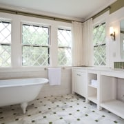 View of home in the historic Brattle Street bathroom, bathtub, estate, floor, flooring, home, interior design, plumbing fixture, property, real estate, room, tile, window, gray