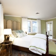 View of home in the historic Brattle Street bed, bed frame, bedroom, ceiling, estate, floor, furniture, hardwood, home, house, interior design, real estate, room, window, wood, white