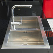 View of kitchen which features stainless steel Smeg countertop, kitchen, product design, sink, black