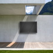 View of waterproof LCD television from HTOTV. - architecture, daylighting, facade, house, gray