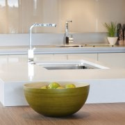 View of a kitchen designed by Suyin of bathroom, bathroom sink, countertop, floor, interior design, kitchen, plumbing fixture, product design, sink, table, tap, gray