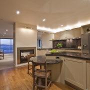 View of kitchen which features brown granite benchtops, countertop, home, interior design, kitchen, real estate, room, brown, orange