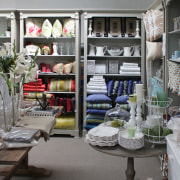 View of the Amazing Interiors show room which furniture, home, interior design, gray