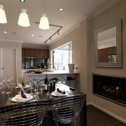 View of a renovated show home kitchen designed countertop, interior design, kitchen, real estate, room, brown, gray