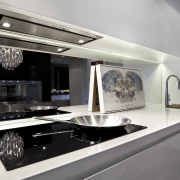 View of contemporary kitchen which features a Smeg countertop, home appliance, interior design, kitchen, kitchen appliance, gray, white, black