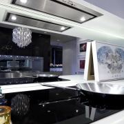 View of contemporary kitchen which features a Smeg automotive exterior, interior design, kitchen, gray, black