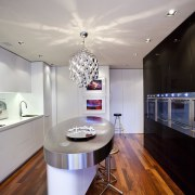 View of kitchen with oval bench top. ceiling, countertop, interior design, kitchen, real estate, room, gray, black