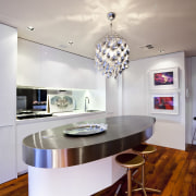 View of kitchen with oval bench top. - ceiling, countertop, floor, flooring, furniture, interior design, kitchen, room, table, gray