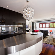 View of kitchen with oval bench top. - countertop, interior design, kitchen, table, gray, black