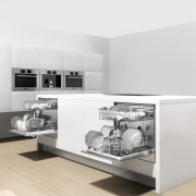 View of a minimal kitchen which features white furniture, interior design, product, product design, table, white