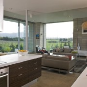 View of a kitchen designed by Celia Visser countertop, interior design, kitchen, living room, real estate, window, gray