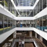 The Asteron Centre in Wellington, designed by Warren apartment, architecture, building, condominium, corporate headquarters, daylighting, headquarters, metropolitan area, mixed use, window, black, white, gray
