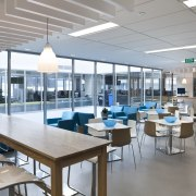 The Asteron Centre in Wellington, designed by Warren cafeteria, classroom, furniture, interior design, table, gray