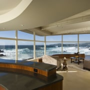 View of the oceanfront Butterfly House in Carmel apartment, architecture, condominium, interior design, penthouse apartment, real estate, window, brown