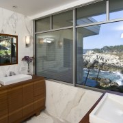 View of the oceanfront Butterfly House in Carmel bathroom, estate, home, interior design, property, real estate, room, window, gray