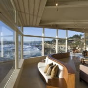 View of the oceanfront Butterfly House in Carmel architecture, daylighting, deck, home, house, interior design, living room, real estate, window, wood, brown