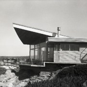 View of the oceanfront Butterfly House in Carmel architecture, black and white, house, monochrome, monochrome photography, sky, gray, black