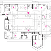 View of the oceanfront Butterfly House in Carmel area, design, diagram, drawing, floor plan, line, plan, product design, white