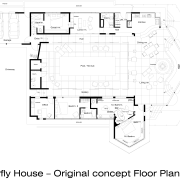 View of the oceanfront Butterfly House in Carmel area, black and white, design, diagram, drawing, floor plan, font, line, plan, product design, schematic, text, white
