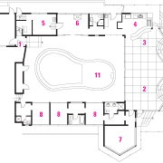 View of the oceanfront Butterfly House in Carmel area, design, diagram, drawing, floor plan, line, plan, product, product design, text, white