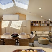 View of dining and living area with customised ceiling, interior design, living room, room, orange, brown