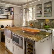 View of remodeled kitchen with rainforest green marble cabinetry, countertop, cuisine classique, home appliance, interior design, kitchen, kitchen appliance, room, gray, brown