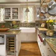 View of remodeled kitchen with rainforest green marble cabinetry, countertop, cuisine classique, floor, flooring, hardwood, interior design, kitchen, room, wood flooring, brown, gray