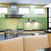 View of kitchen and dining area with Japanese countertop, interior design, kitchen, living room, real estate, window