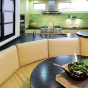 View of kitchen and dining area with Japanese interior design, living room, real estate, room, table, orange