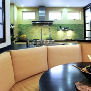 View of kitchen and dining area with Japanese home, interior design, living room, real estate, room, window, orange