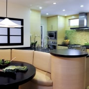 View of kitchen and dining area with Japanese countertop, interior design, kitchen, real estate, room
