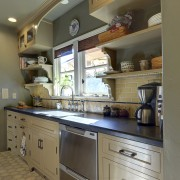 View of Spanish-style home with open shelving and cabinetry, countertop, cuisine classique, interior design, kitchen, real estate, room, brown, gray
